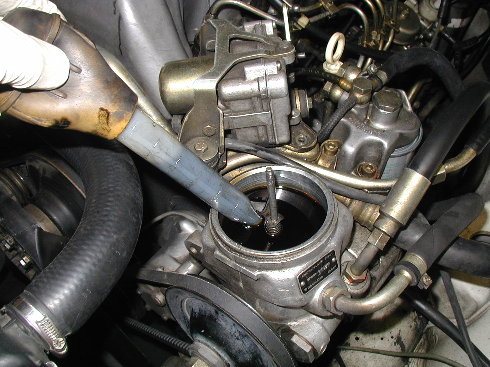 changing  power steering pump  filter engine